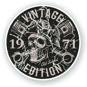 Distressed Aged Vintage Edition Year Dated 1971 Biker Skull Roundel Vinyl Car Sticker Decal 87x87mm